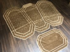 ROMANY GYPSY WASHABLES SET OF 4 TOURER SIZE 60x120CM MATS DARK BEIGE NON SLIP